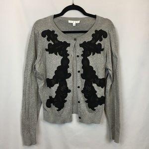 Cabi Grey Ribbed Appliqué Cotton Cardigan